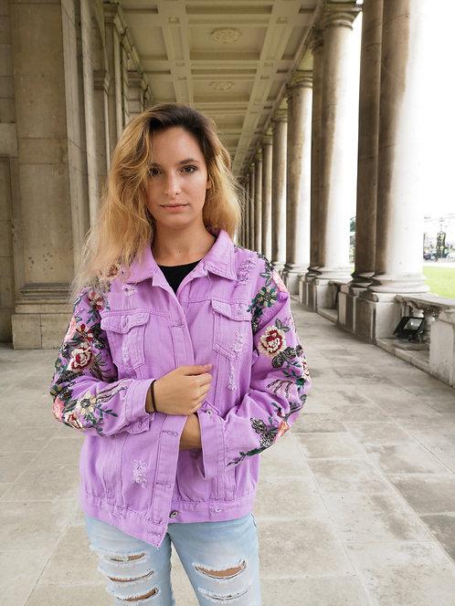 Lilac Lace decorated Denim Jacket