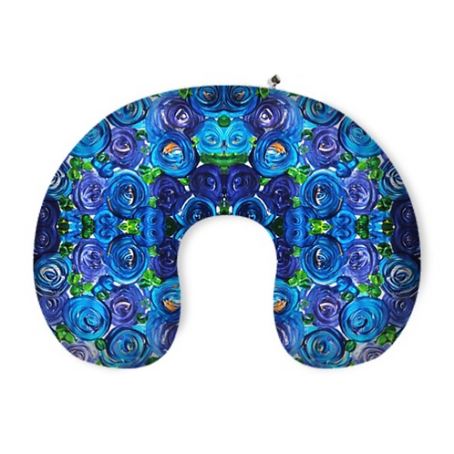 Blue Roses Neck Pillow