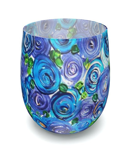 Blue Roses Water Glass