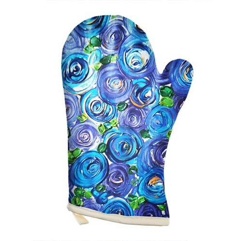 Blue Roses Oven Glove