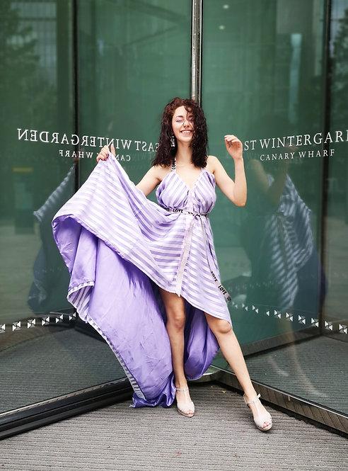 Lilac Stripes Shimmering Dress