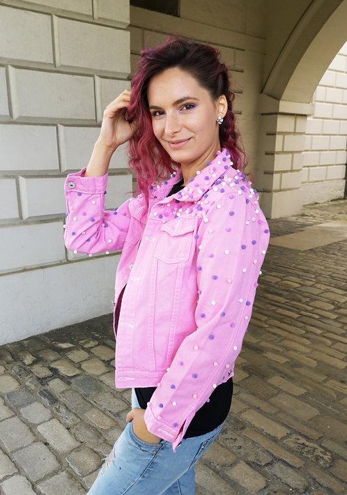 Pink Denim Pom Pom Jacket