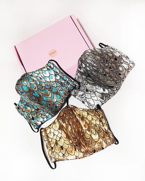 Pack of 3 Luxe Brocade and Satin Face Covers in a Gift Box with surprise Sweets