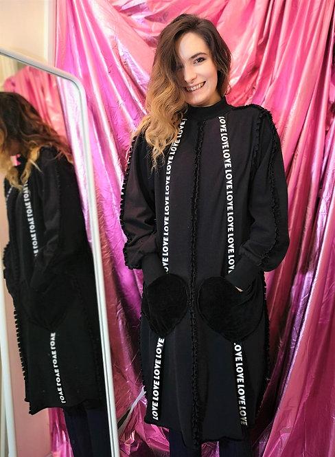 Long Black Organic Cotton Sweater Pullover Dress