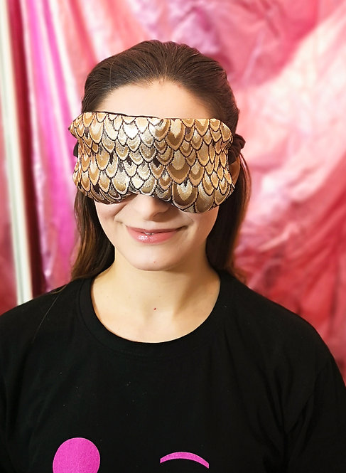 Brown Gold Peacock Luxe Brocade and Satin Eye Cover Mask