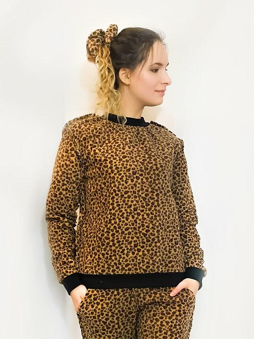 Leopard Fleece Lounge wear Sweater Pullover