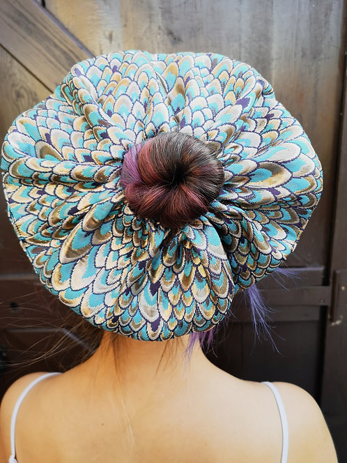 Extra Large Luxe Blue Brocade Scrunchie