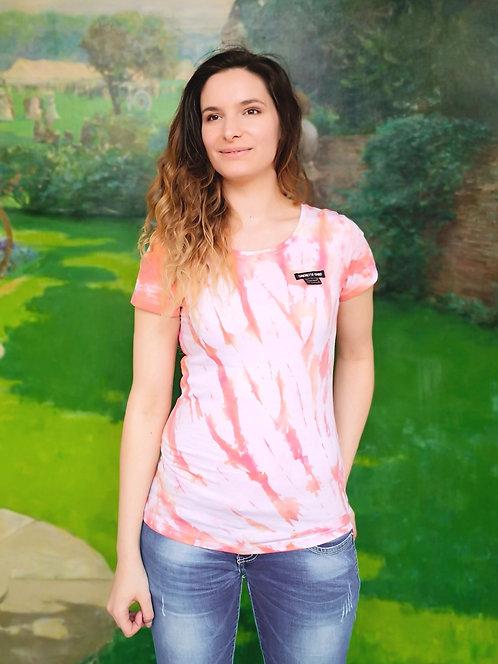 Pastel Orange Splash Tie Dye Organic Cotton Shirt