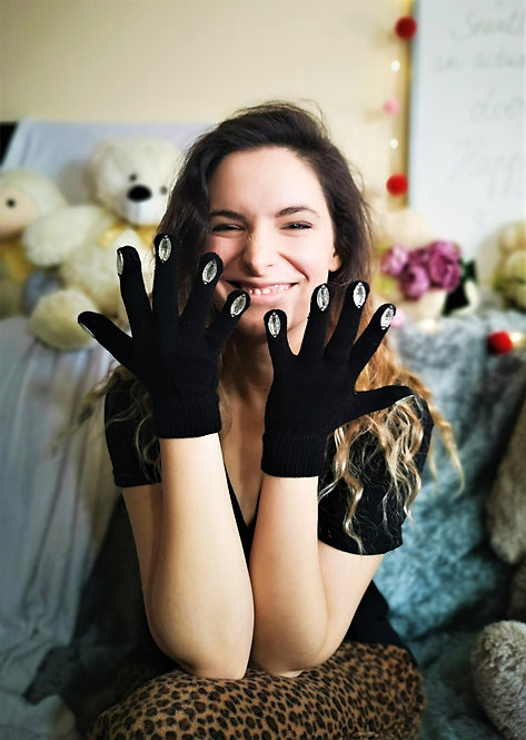 Touch Screen Beaded Nails Gloves