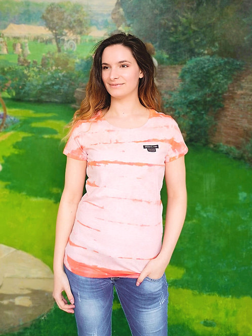 Pastel Orange Lines Tie Dye Organic Cotton Shirt