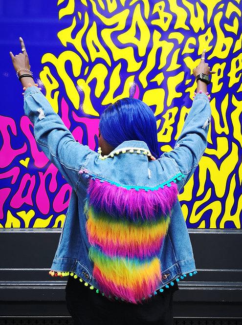 Rainbow PRIDE Faux fake Fur Pom Pom Denim Jacket