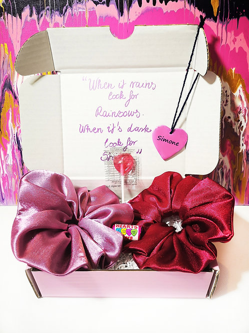 Send Some Love Scrunchies Gift Box Care Box (Pink Red)