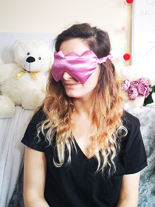 Dusty Pink Heart Shaped Satin Eye Cover Mask Blindfold