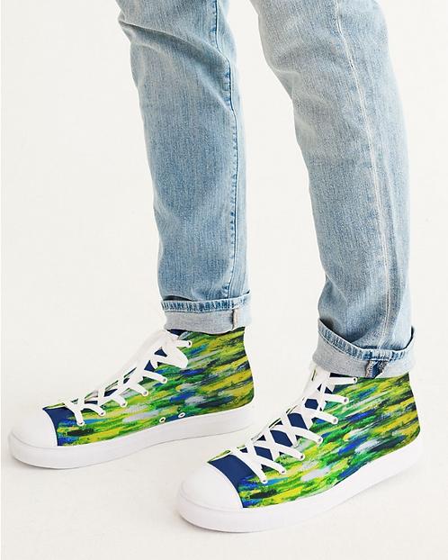 Abstract Greenery Men's Hightop Canvas Shoe