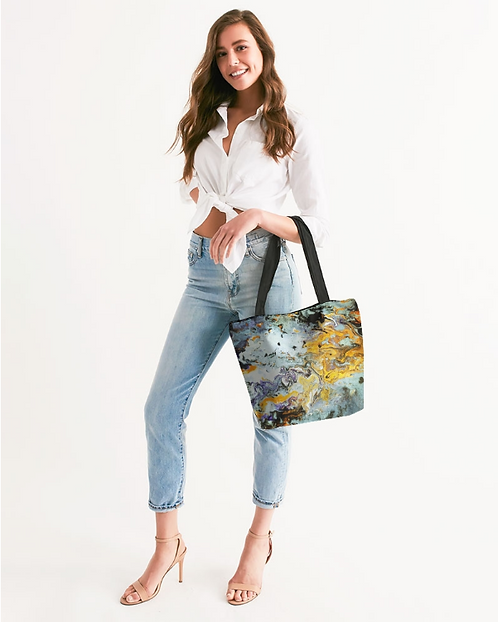 Pouring Gold Canvas Zip Tote