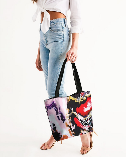 Pouring Contrast Canvas Zip Tote