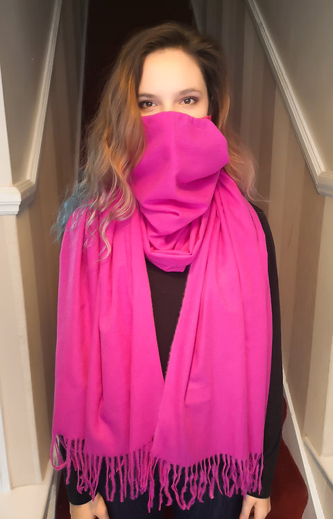 Pink Cashmere feel Scarf Mask