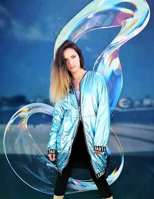 Ice Blue Metallic Waterproof Jacket