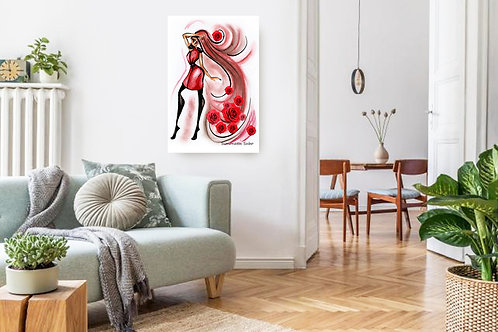 Lady Rose 2 Fashion Illustration Print