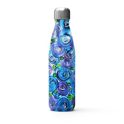 Blue Roses Stainless Steel Thermal Bottle