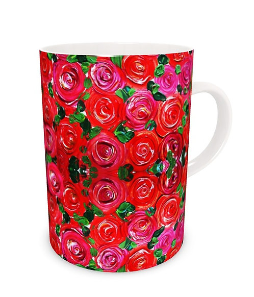 Red Roses Bone China Mug