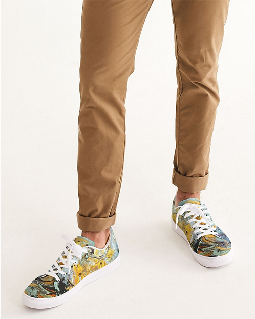 Pouring Gold Men's Faux-Leather Sneaker