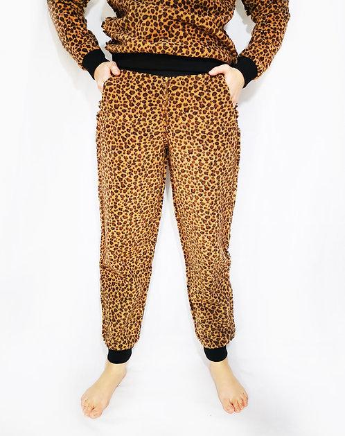 Leopard Fleece Loungewear Sweatpants