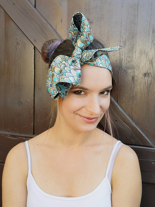 Luxe Blue Brocade Bow Hairband