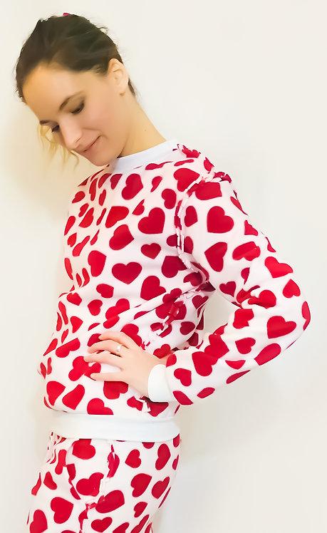 White Red Heart Fleece Lounge wear Sweater Pullover