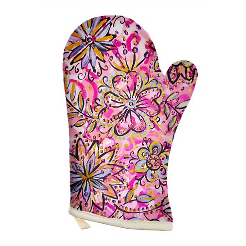 Blooming Flowers Oven Glove
