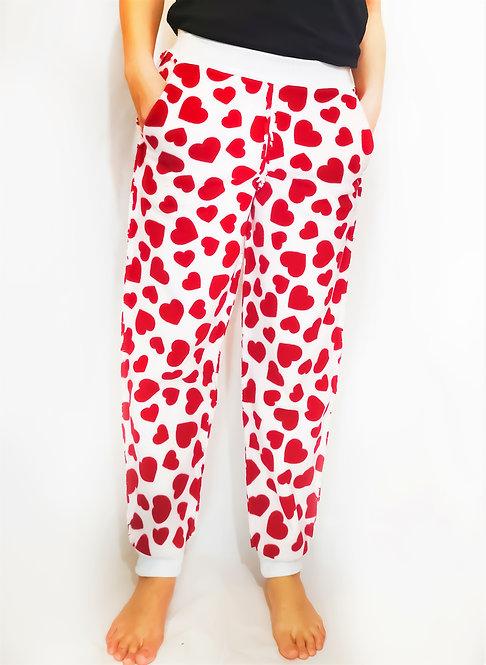 White Red  Heart Fleece Loungewear Sweatpants