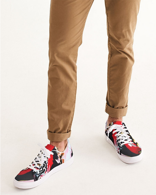 Pouring Contrast Men's Faux-Leather Sneaker