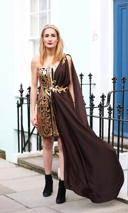 Gold and Brown Queen Silk Satin Gown