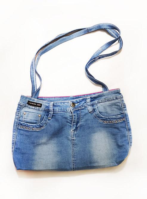 Re-Designed Denim Shoulder Bag Studded