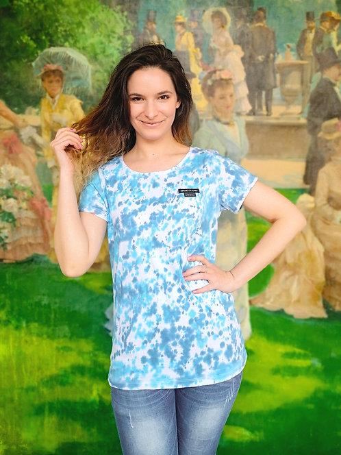 Pastel Blue Dots Tie Dye Organic Cotton Shirt