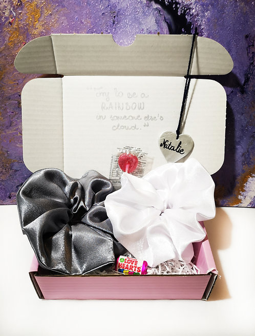 Send Some Love Scrunchies Gift Box Care Box (Silver White)