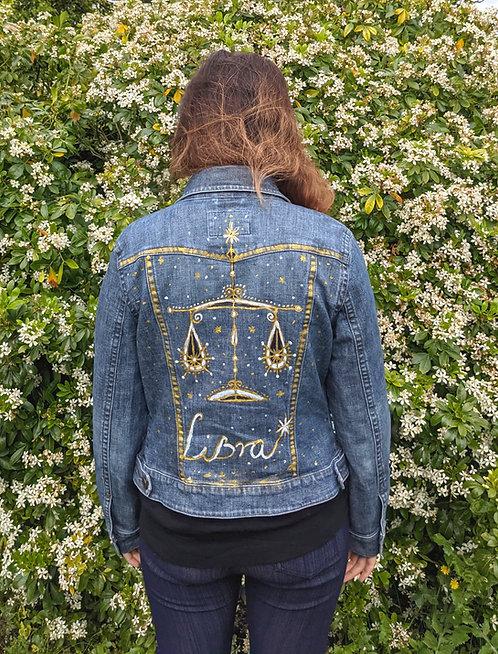 Personalised Hand Painted Horoscope Zodiac Sign Vintage Denim Jackets