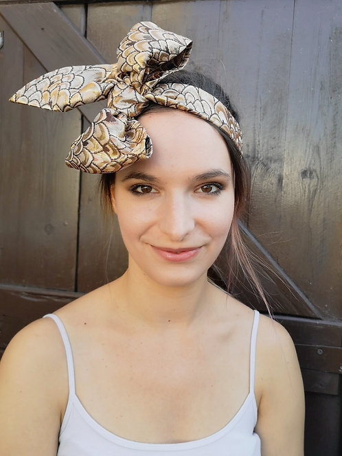 Luxe Gold Brocade Bow Hairband