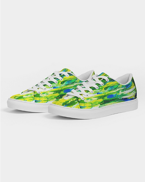 Abstract Greenery  Men's Faux-Leather Sneaker