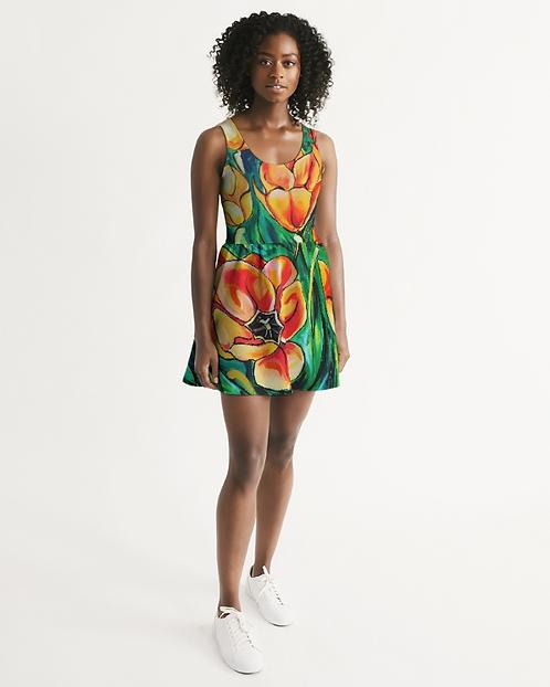 Summer Flowers Women's Scoop Neck Skater Dress