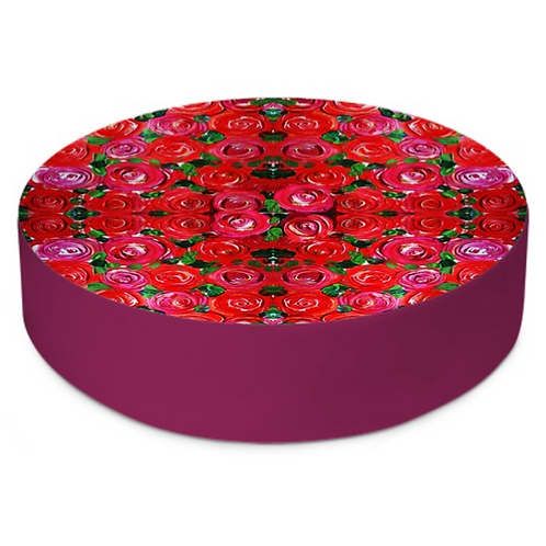 Red Roses Round Floor Cushion