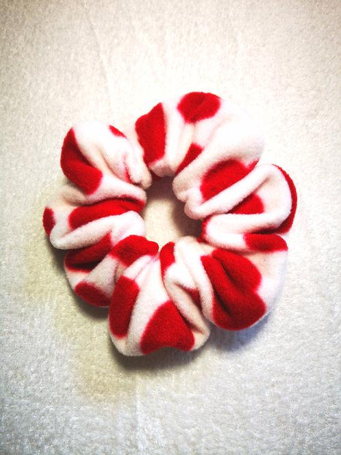 White Red Heart Fleece Jumbo Scrunchie