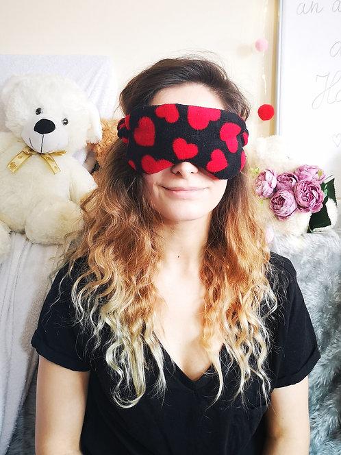 Black Red Heart Fleece Eye Cover Mask Blindfold