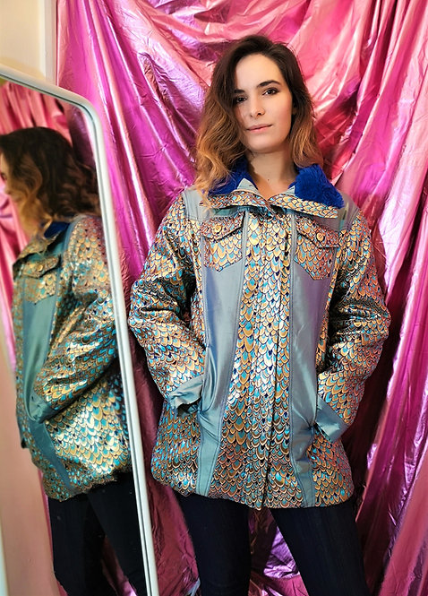 Luxe Blue Gold Peacock Coat