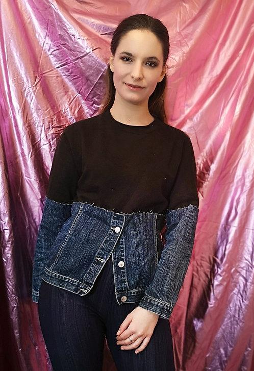 Vintage Re-Designed Denim Jacket Pullover Sweater