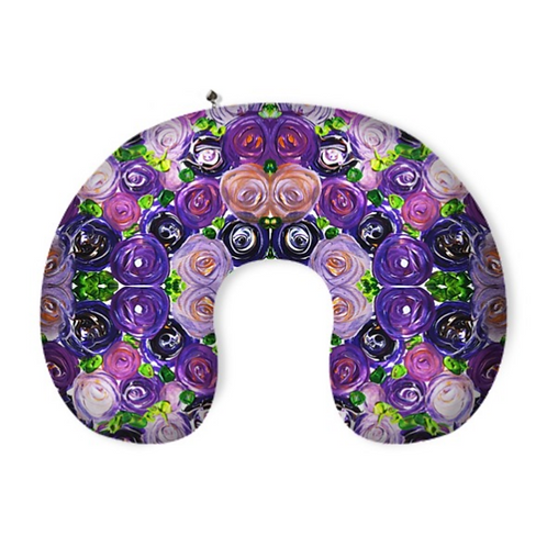 Purple Roses Neck Pillow