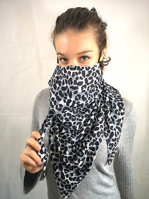 Grey Cheetah Scarf Mask