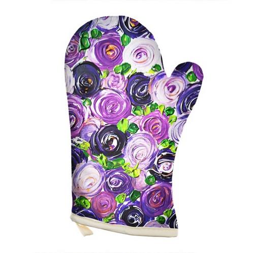 Purple Roses Oven Glove