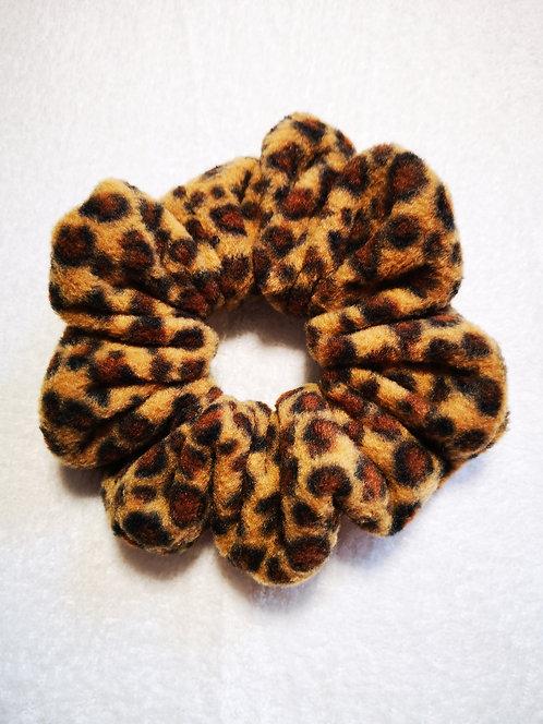 Leopard Fleece Jumbo Scrunchie