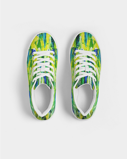 Abstract Greenery Women's Faux-Leather Sneaker